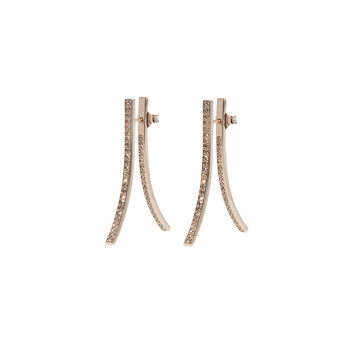 Eight Double Rose Gold Earrings with Champagne Diamonds