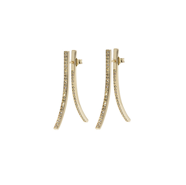 Eight Double Yellow Gold Earrings with Diamonds