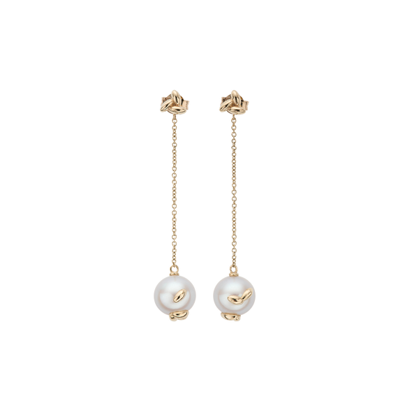 Gold Pearl Rice Chain Earrings