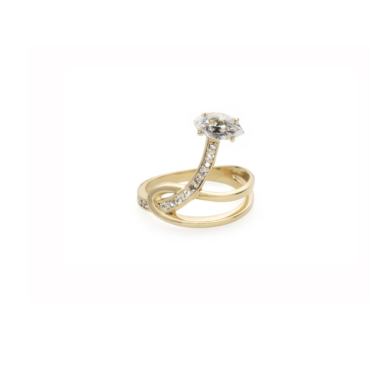 Gloriosa Lily Yellow Gold Knot Ring with Diamonds