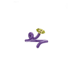 Baby Vine Tendril Ring in Purple Enamel