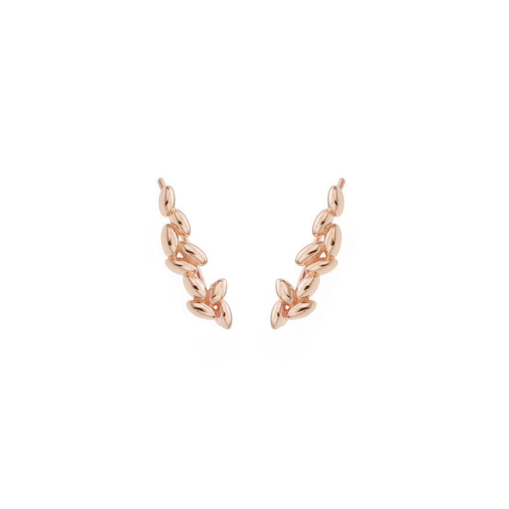Rice Grain Earrings in Rose Gold