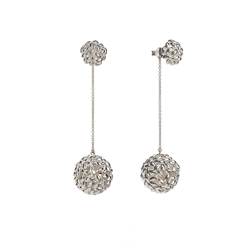 Silver Rice Ball Chain Earrings