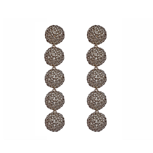Silver Black Plated Long Rice Balls Earrings