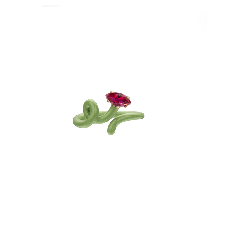 Baby Vine Tendril Ring in Green Enamel