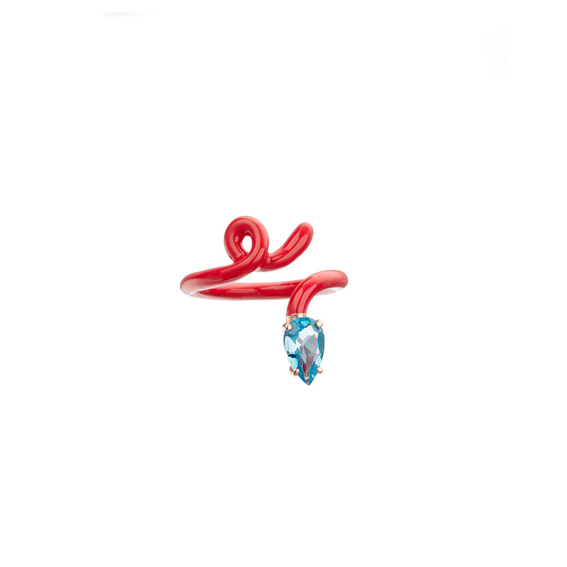 Baby Vine Tendril Ring in Red Enamel