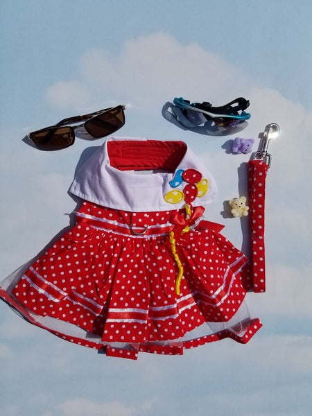 Red Polka Dot Balloon Designer Dog Harness Dress