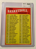 NBA basketball Rare unmarked checklist card 1971