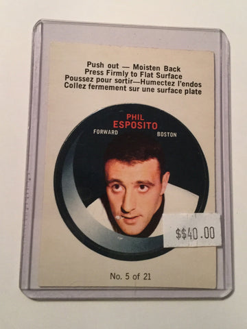 Phil Esposito Rare punch insert hockey card 1968