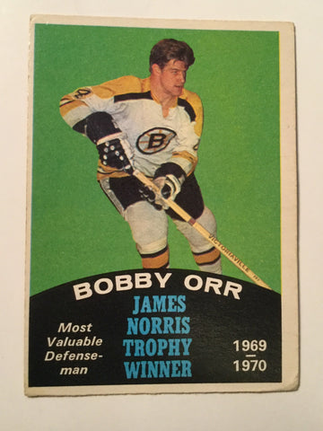 Bobby Orr James Norris trophy opc hockey card 1970