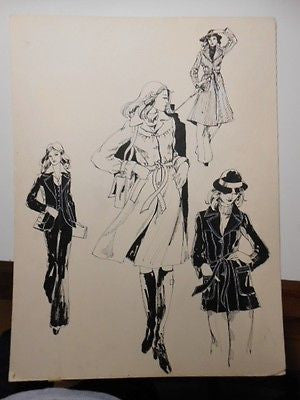 Original vintage fashion art 15x20 size Eatons store artwork board 1970s