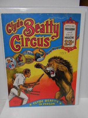 Circus Clyde Beatty rare program from 1957