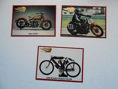 Indian Motorcycle 3 cards rare preview set 1990