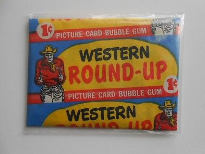 Western Round-Up Topps rare one cent card pack 1950s