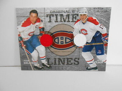 Jean Beliveau/ Leclair double game-used memorabilia insert hockey card