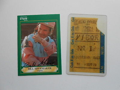 Horse racing Bill Shoemaker signed card & ticket w/ COA