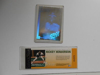 Ricky Henderson limited issued baseball card hologram with ticket 1990s