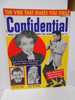 Elvis cover Confidential movie Stars magazine 1950s