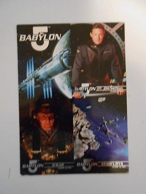 Babylon 5 series 1 rare four cards preview sheet 1990