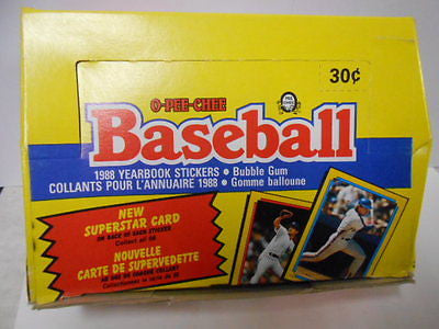 Baseball OPC yearbook stickers box 1988