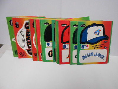 Baseball Fleer card hats Logo insert set 1982