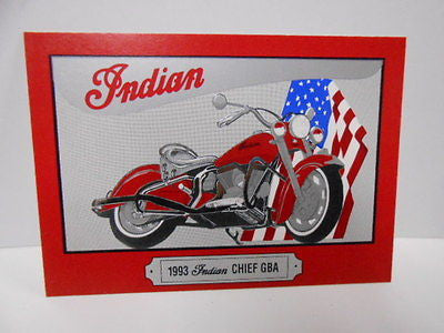 Indian motorcycle embossed numbered promo card 1990