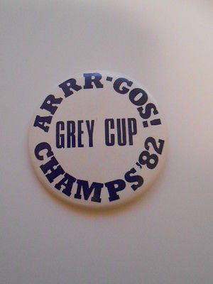 CFL Football Argos Grey Cup champs button 1982