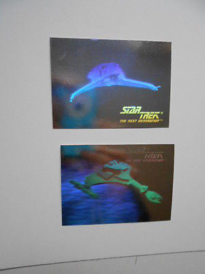 Star Trek  foil holograms two insert ship cards 1990s
