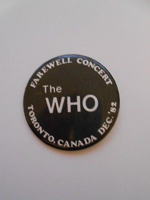 The Who rare original farewell concert tour button 1982