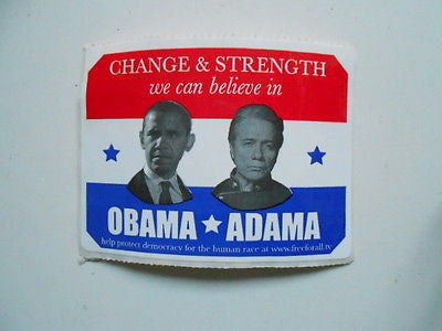 Obama vs Adama rare 3x3 inch sticker..