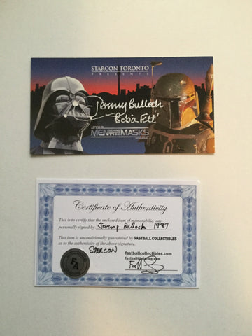 Star Wars Starcon Boba Fett  signed in person card 1997  w/COA