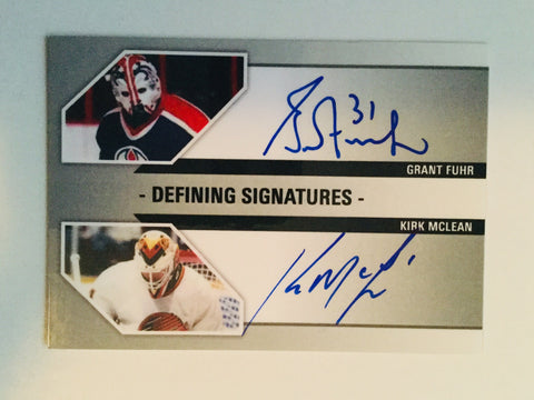 Grant Fuhr and Kirk McClean double autograph hockey card
