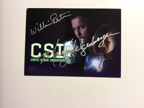 CSI Peterson and Helgenberger signed card with COA