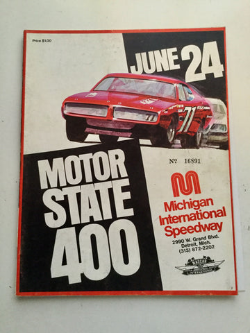 NASCAR Motor State Michigan 400 Rare Program 1970s
