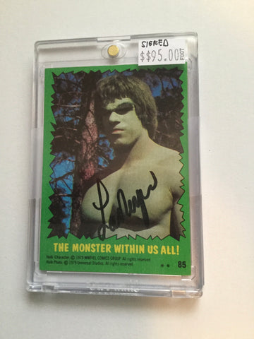 The Incredible Hulk TV show Lou Ferrigno signed card with COA