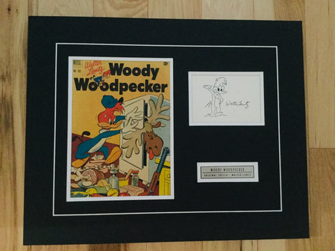 Woody Woodpecker rare original sketch signed by Walter Lantz with COA