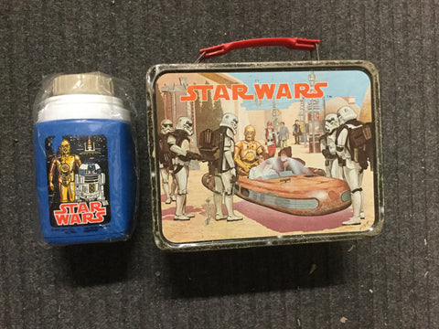 Star Wars movie metal lunch box with Thermos 1977