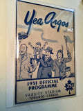 CFL football rare program Argos vs Ticats 1951