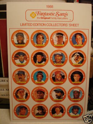 Baseball Stars Fantasic Sams uncut card sheet set 1988