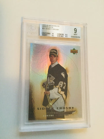 Sidney Crosby UD McDonald's high graded hockey rookie card 2005