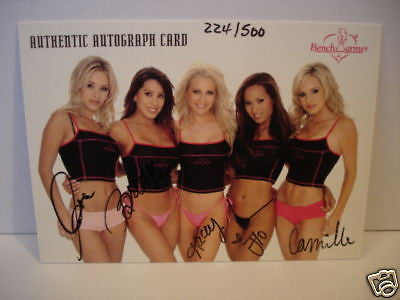 Playboy Benchwarmer rare 4 autographs numbered insert card