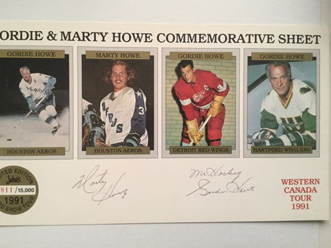 Gordie Howe and Marty Howe rare signed hockey card sheet 1991