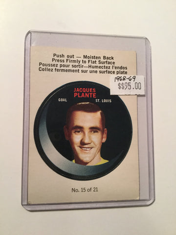 Jacques Plante Rare opc hockey punch Insert Card 1968