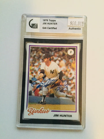 Jim catfish hunter Signed Certified Baseball card