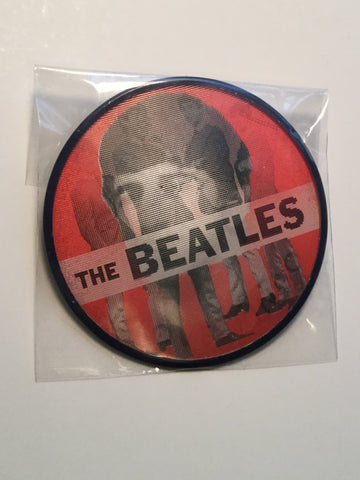 Beatles rare 3 inch red lenticular button 1960s