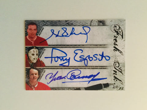 Henri Richard, Tony Esposito and Cournoyer rare triple autograph hockey numbered card