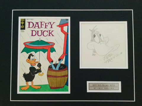 Daffy Duck Rare Original matted sketch signed by Friz Freleng sold with COA