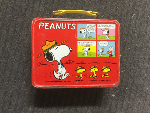 Peanuts cartoons rare metal lunch box 1970s