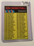 ABA basketball Rare unmarked checklist card 1971