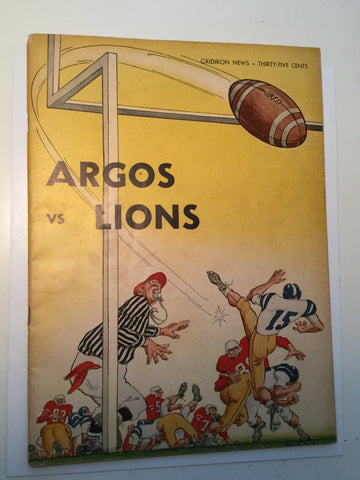 CFL football Argos vs BC Lions Program w/ticket 1961